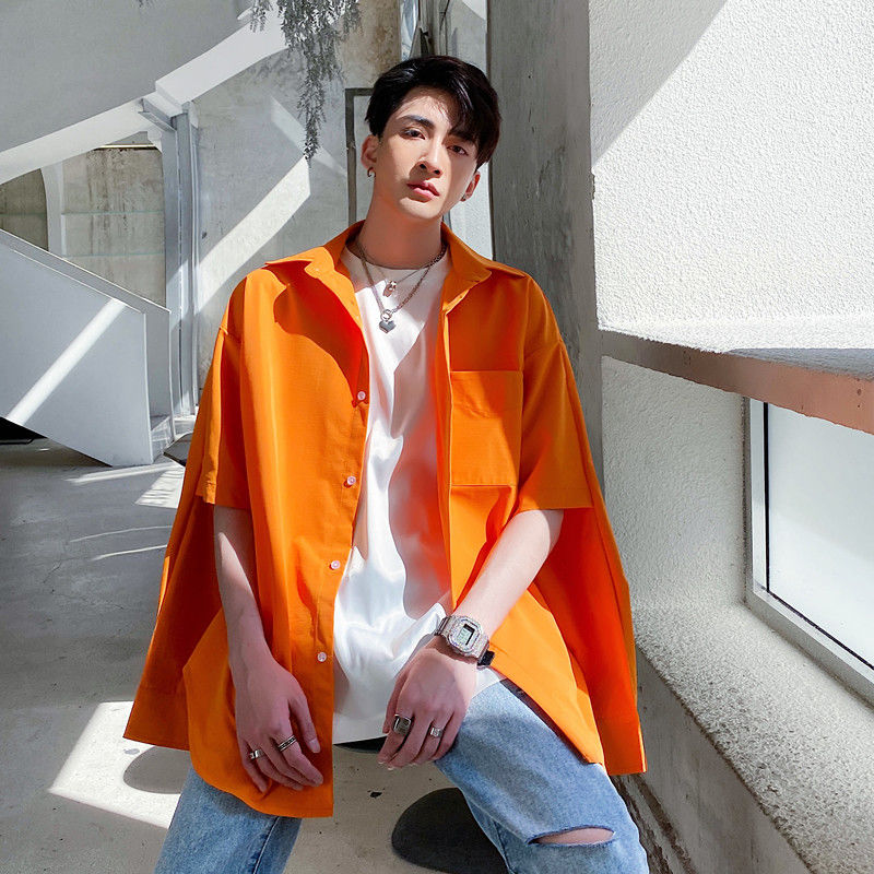 EWQ / men's wear Two-wear shirt male's fashionable bright color hollow out long sleeve shirt 2020 korean style tide tops 9Y2781
