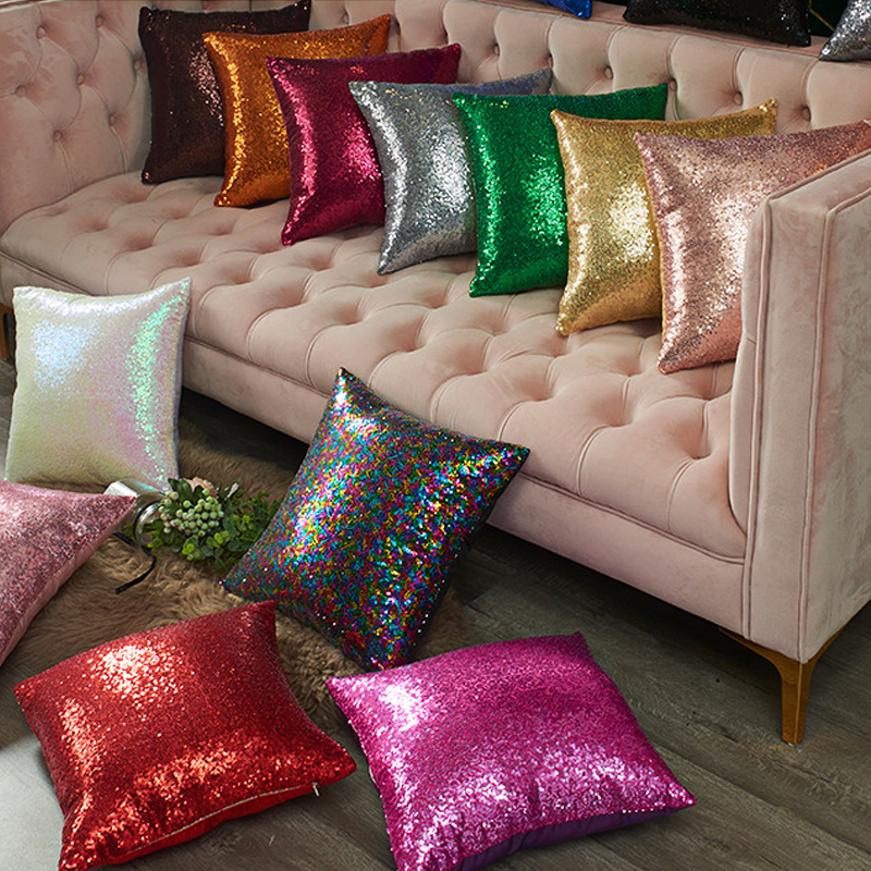 40x40cm Glitter Sequin Throw Pillow Cases Solid Color Square Cushion Cover Decorative Pillowcases Home Sofa Pillow Covers