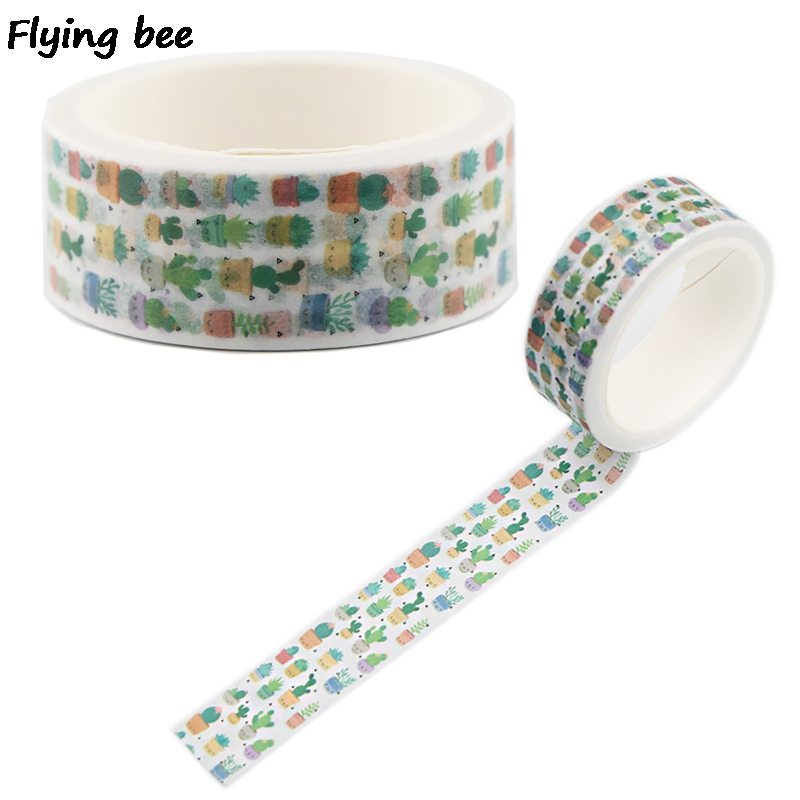 Flyingbee 15mmX5m Paper Washi Tape The Cactus Cute Adhesive Tape DIY Scrapbooking Sticker Label Notebook Masking Tape X0501