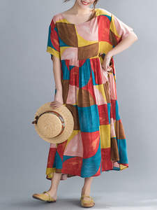 DIMANAF Print Dress Clothing Oversize Women Beach-Style Plus-Size Casual Lady Cotton