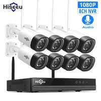 Hiseeu ワイヤレス CCTV カメラシステム 1080 1080P 8ch 2MP IP カメラオーディオ防水屋外セキュリティシステムビデオ監視キット