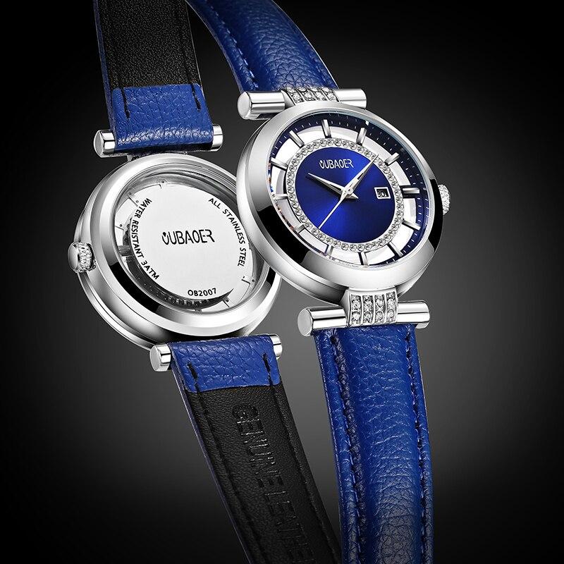 OUBAOER Leisure Women Watch Leather strap Lady Watch Fashion Waterproof Ladies Watches Simple Blue Girl Clock Relogio Feminino|Women's Watches| |  - title=
