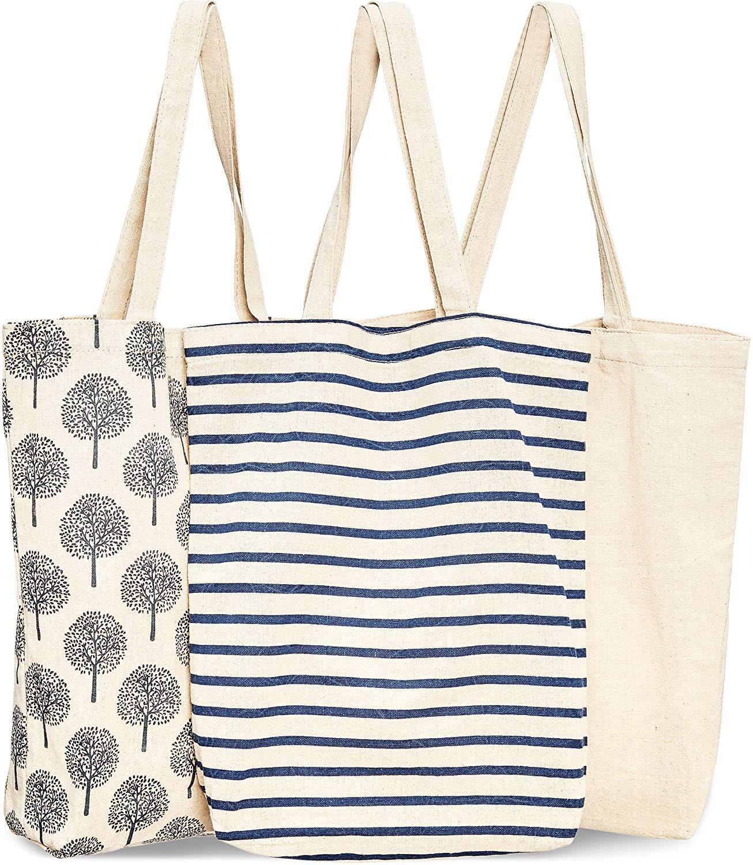Reusable Cotton Grocery Shopping Tote Bags, 3 Designs,Canvas Cotton Shopping Bag