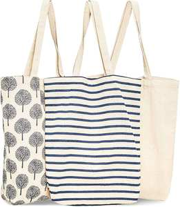 Reusable Cotton Grocery Shopping Tote Bags, 3 Designs,Canvas Cotton Shopping Bag