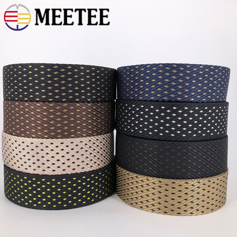 Meetee 8M 38mm Polyester Nylon Jacquard Webbing Tactical Belt Outdoor Canvas Webbing Tape DIY Clothing Luggage Decor Accessory