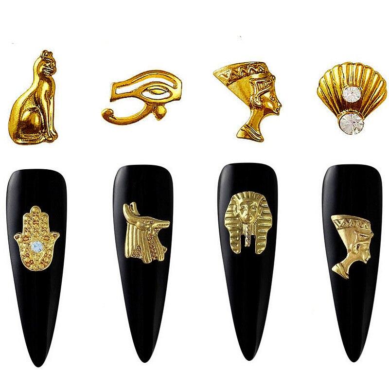 20 шт Красота Египетский Стиль Золото ногтей талисманы 3D металлические аксессуары для украшения ногтей Поставки инструмента