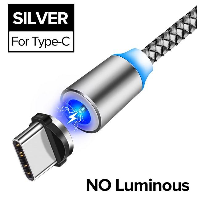 INIU световой поток магнитного освещения USB кабель для iPhone XR X 7 8 микро Тип C зарядное устройство Быстрая зарядка магнит зарядка USB-C тип-c - Цвет: For Type C Silver