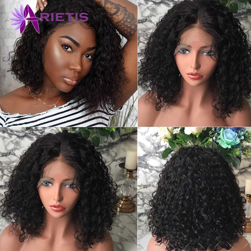 Arietis perwersyjne kręcone koronki przodu włosów ludzkich peruki z dziecięcymi włosami brazylijski Remy włosy krótkie kręcone Bob peruki dla kobiet pre-plucked peruka