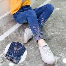 Комбинезоны для девочек, детская одежда для девочек с вышивкой в виде мультяшных героев джинсы c кроликами в весенне-Осенняя детская одежда джинсы для маленьких девочек От 3 до 12 лет