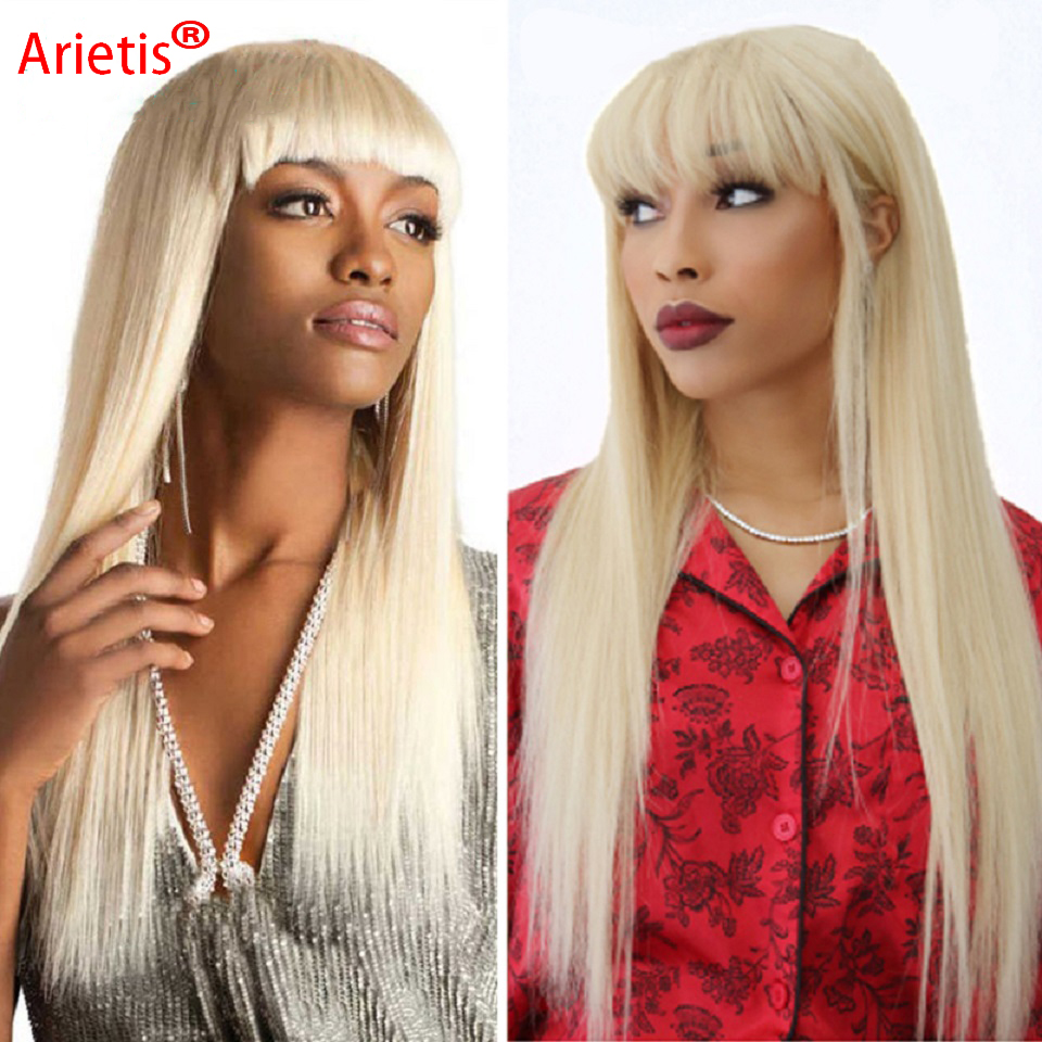 Arietis Hair 150% Density Peruvian 613 Straight Full Machine Made No Glues Remy Human Hair Wig With Bang For White Women