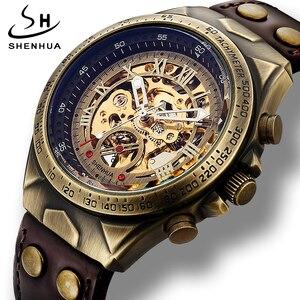 Image 3 - جديد التلقائي ساعات آلية الرجال حزام من الجلد الرجعية الهيكل العظمي Steampunk ساعة اليد الذاتي الرياح العلامة التجارية Relogio Masculino