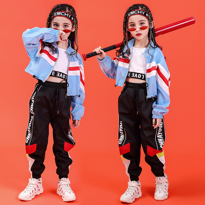 Children Cool Hip Hop Clothing High Collar Short Jacket Coat Top Crop Vest For Girls Jazz Dance Costume Dancing Clothes Wear