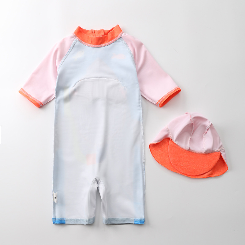 KID'S Swimwear BOY'S One-piece Fish Sharks Bathing Suit Children Baby Beach Coat With Cap Tour Bathing Suit