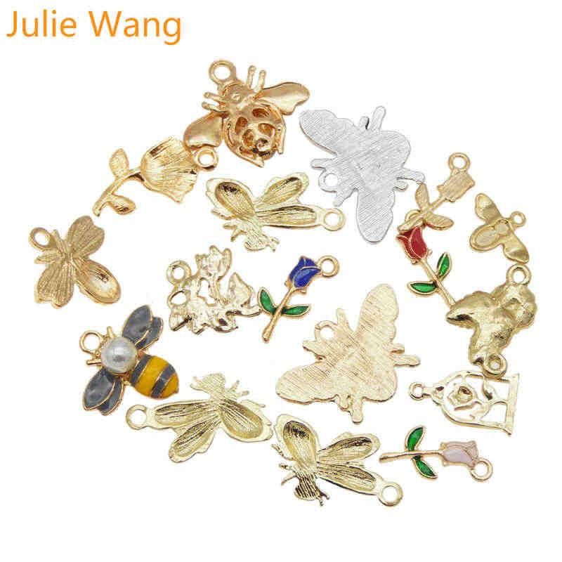 ג 'ולי וואנג 15PCS אמייל Bee פרחי קסם מעורב דבורת דבש עלה סגסוגת זהב טון שרשרת צמיד עגיל תכשיטי ביצוע אבזר