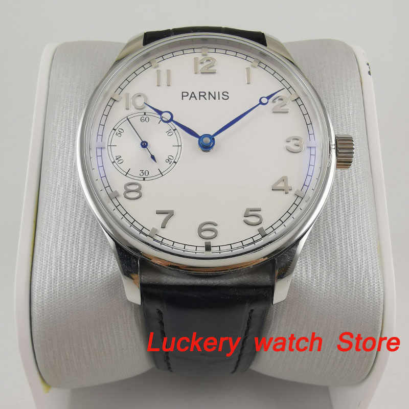 44mm Parnis white dial blue hands 17 jewels mechanical 6497 hand winding movement Men's watch-PM02
