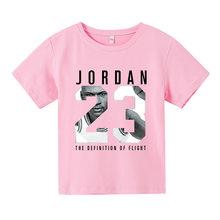 23 sportwear moda verão crianças roupas menino t camisa jogo de manga curta roupas criança menina casual bonito t-camisa 3-16years