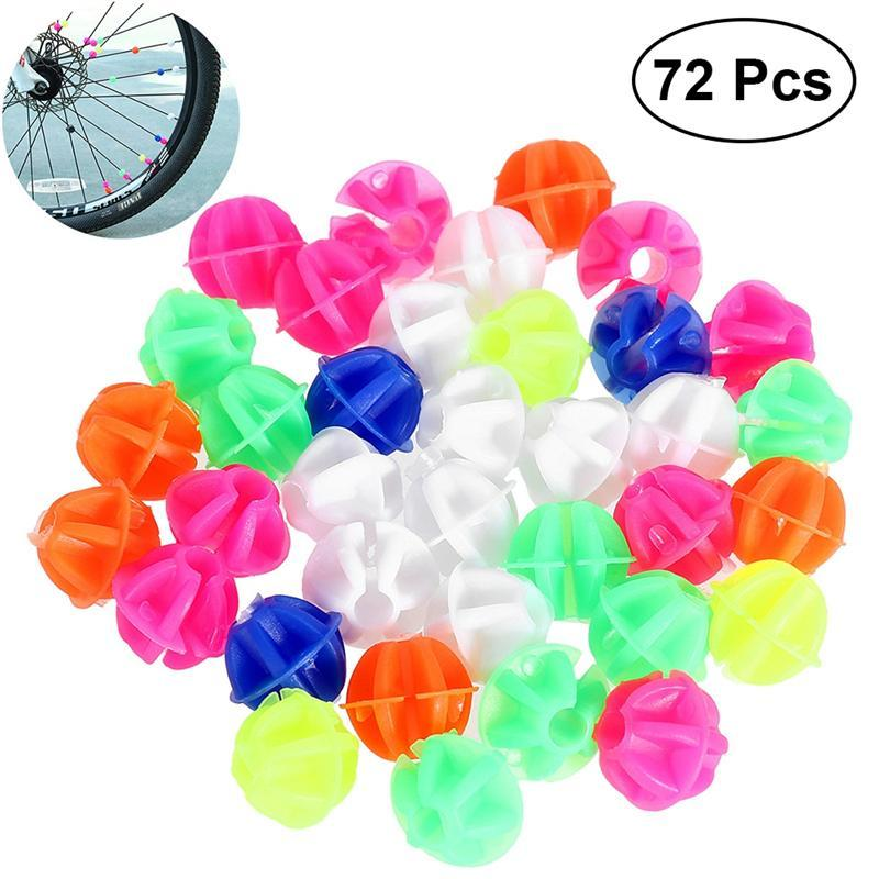 72Pcs Bicycle Spoke Beads Colorful Round Luminous Bicycle Beads for Decorating
