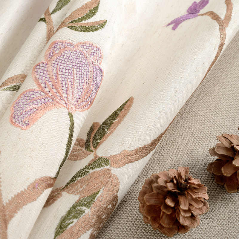 Curtains for Living Room and Bedroom Cloth Modern Pastoral American Country Cotton and Linen Embroidered Curtain Window Yarn