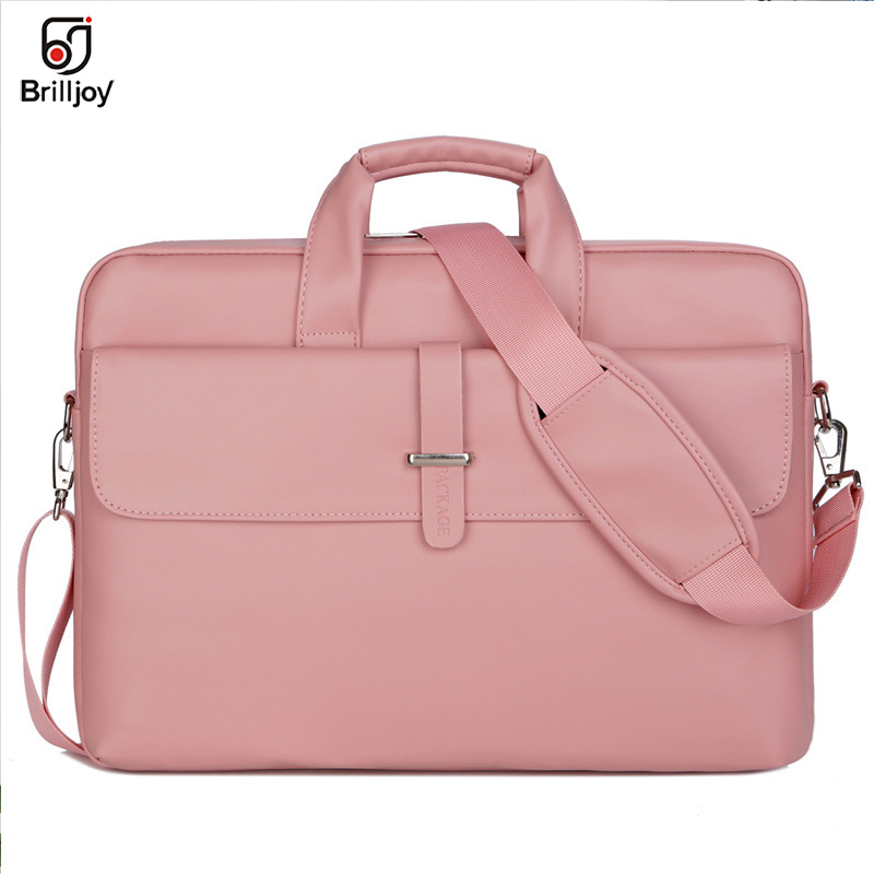 Brilljoy PU Leather Women Handbags Laptop Bag Notebook Carrying Case Men Briefcase For Macbook Air 13 14 15.6 Inch Shoulder Bag