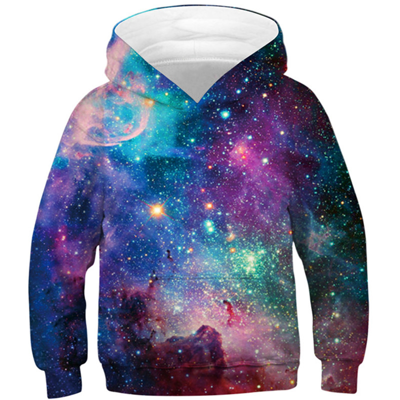 Children Star Space Galaxy Hoodies Hooded Boy Girl Hat 3d Sweatshirts Print Colorful Nebula Kids Fashion Pullovers Clothes Tops