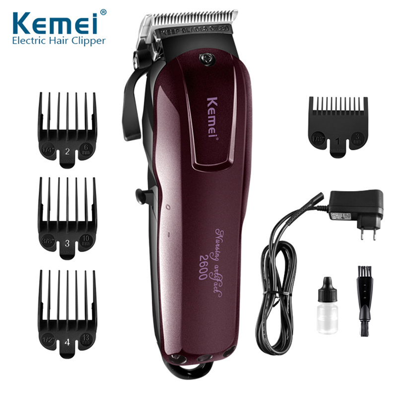 Kemei 2600 Professional Hair Clipper Rechargeable Hair Cutting Machine Razor Powerful Hair Trimmer Shaver Titanium Blade KM-2006