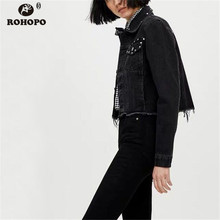 ROHOPO Black Rivet Denim Jacket Autumn Tassel Frayed Hem Short Women Jeans Solid Cotton Outwear #8375
