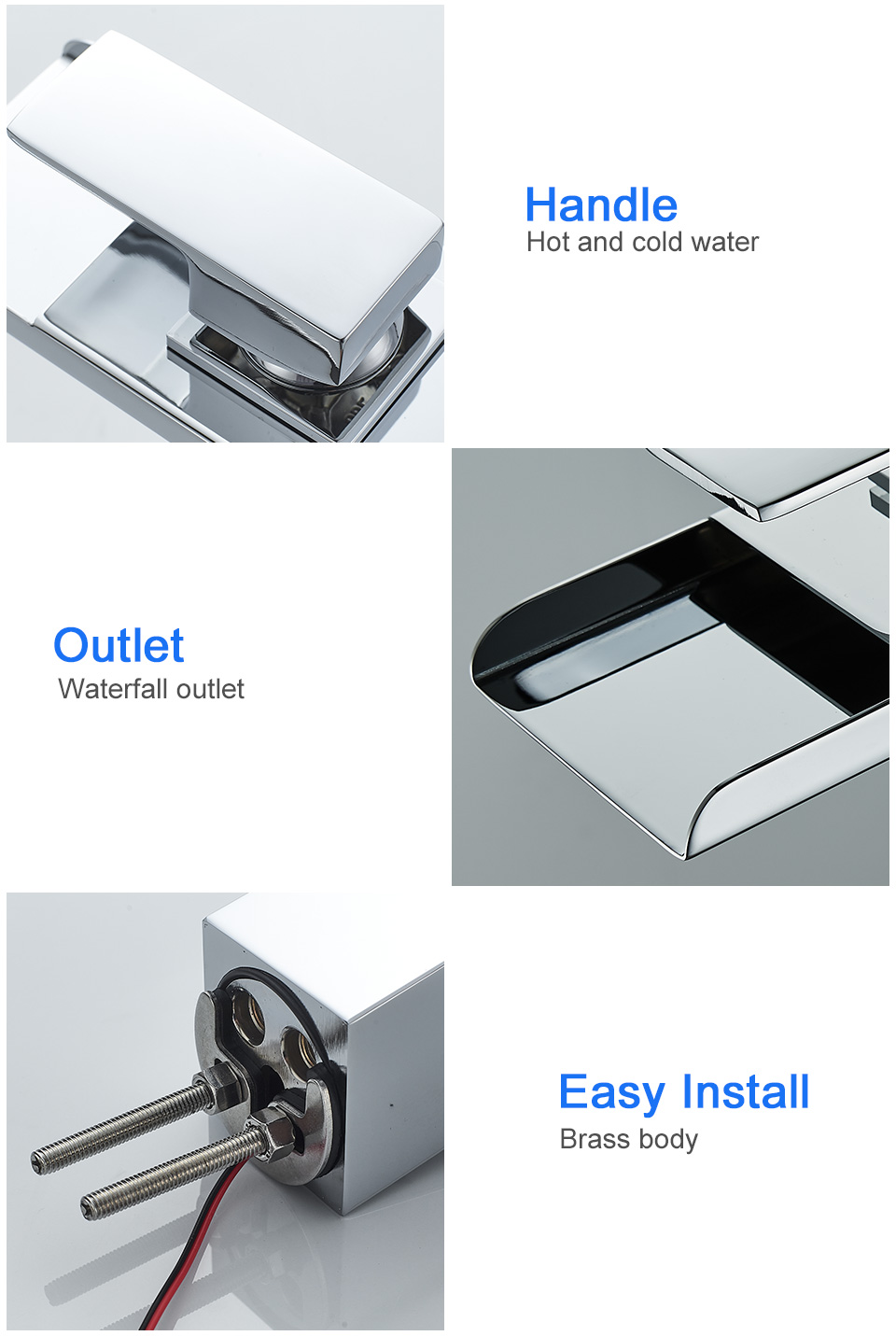 H7eb19f8f0a8a4fd2a609982553eff573A ROVADE Bathroom LED Basin Faucet, Waterfall Bathroom Sink Tap Cold and Hot Mixer Crane (Chrome)
