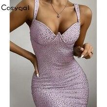 COSYGAL 2019 חורף סתיו נמוך Cut סקסי שמלת יהלומים לילה המפלגה Clubwear שמלות נשים Bodycon מיני שמלת Vestidos