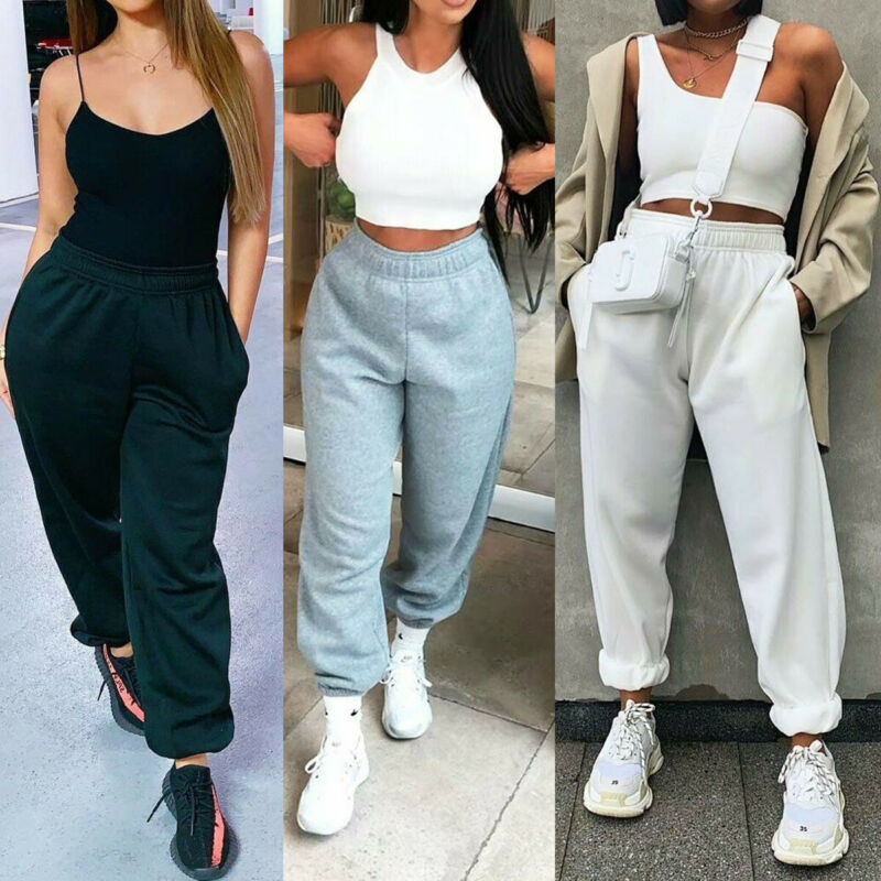 2020 Womens Joggers Tracksuit Bottoms Trousers Slacks Gym Jogging Sweat Pants Jogger Pants Drawstring Elastic Waist Trousers