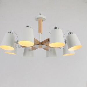 Image 4 - Lampadario a LED E27 a testa girevole in legno nordico luce in ferro bianco e nero per sala da pranzo soggiorno camera da letto hotel appartamento