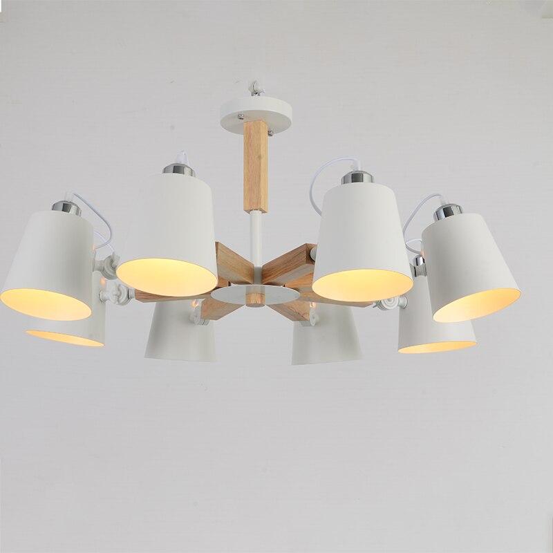 Image 4 - Nordic simple wooden E27 220V LED steering chandelier black&white two color iron chandelier for dining room living room bedroom-in Pendant Lights from Lights & Lighting