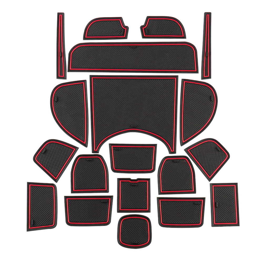 Zlord 19 Pcs/Set Car Gate Slot Mats For Honda HR-V HRV Vezel 2014 - 2018 Interior Decoration Door Groove Mat Accessories