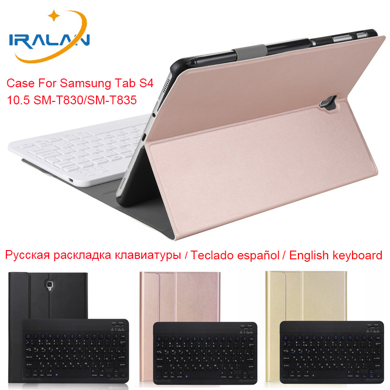 For Samsung Galaxy <font><b>Tab</b></font> <font><b>S4</b></font> 10.5 inch T830 T835 With <font><b>Keyboard</b></font> Case SM-T830 SM-T835 Bluetooth <font><b>Keyboard</b></font> Leather Case Cover Funda New image