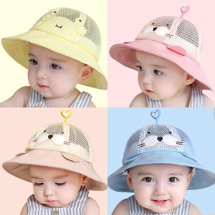 Baby Infant boy Girl Sun Hat summer mesh Cotton Children Kids Bucket Cap Eye Face shield Protection mask  removable Anti-saliva 3