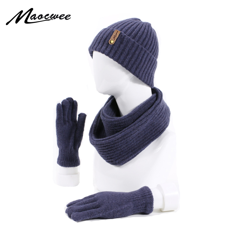 Winter Women Men's Hat Scarf Gloves Set Knitted Outdoor Warm Thicken Unisex 3 Pieces Set Casual Solid Color Hat Scarf Gloves Set