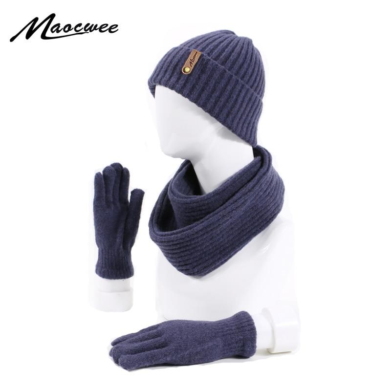 Winter Women Men's Hat Scarf Gloves Set Knitted Outdoor Warm Thicken Unisex 3 Pieces Set Casual Solid Color Hat Scarf Gloves Set