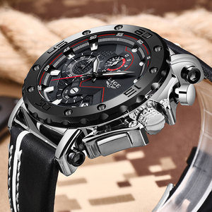 Image 2 - Relogio Masculino Fashion Watches Mens 2019 LIGE Top Luxury Brand Mens Business Leather Military Waterproof Date Dial Big Watch