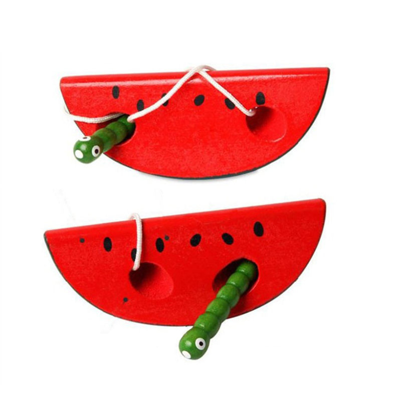 Montessori Wooden Toys Threading Worm Eat Apple Pear Watermelon Puzzles Novelty Funny Educational Wood Practical Toys
