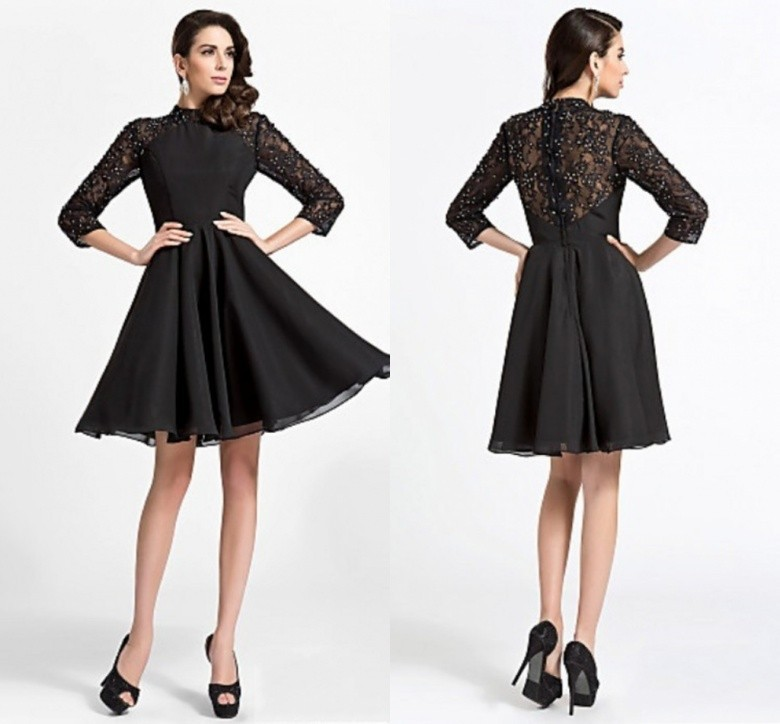 Black Lace Chiffon Long Sleeve Short Prom Gown 2018 New Fashion High Neck Beaded A-line Handmade Mother Of The Bride Dresses