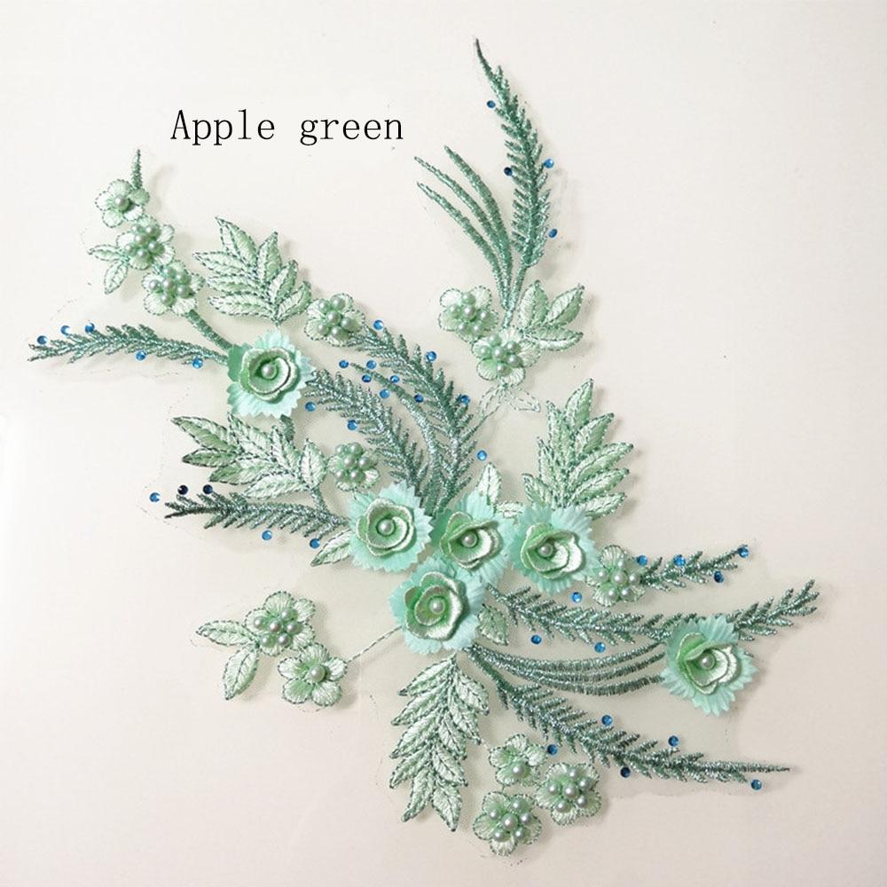 2 Piece Elegant 3D Flower Embroiderey Pearl Beaded Lace Applique Sewing Dress DIY Craft Embellishments Rhinestone Flower Trims