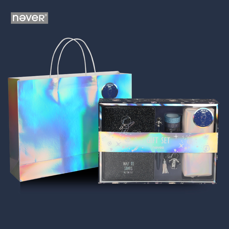 Never Astronaut Series Gift Set School Student Back To School Supplies A5 Notebook Gel Pen Washi Tape Pencil Bag Stationary