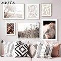 Скандинавский абстрактный холст, Постер, природа, трава, Скандинавское настенное искусство, принт, картина льва, декоративная картина, Совр...