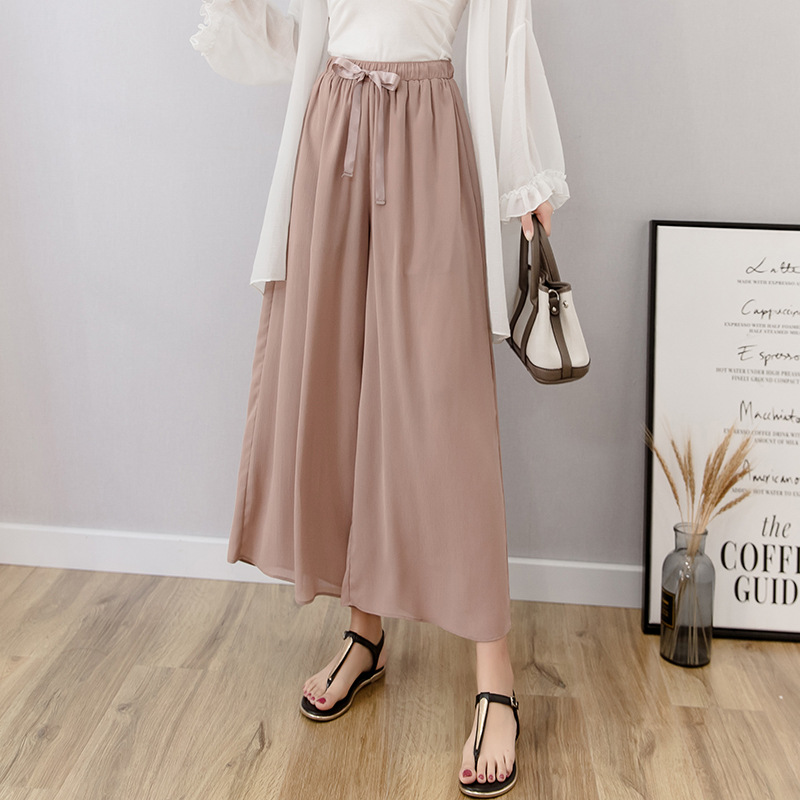 Chiffon Capri Loose Pants Women's Photo Shoot 2019 Summer New Style Elastic Waist Lace-up Gentle Wind Drape Casual Pants