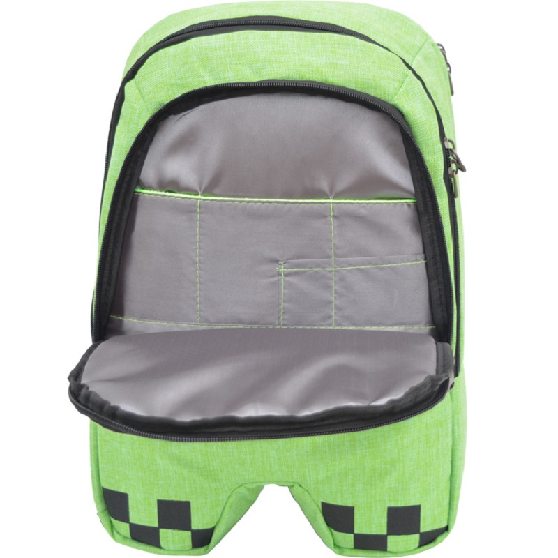 Green Minecrafter <font><b>Backpacks</b></font> Factory Directly Children Schoolbag Boy Girls Canvas Zip Green Creeper <font><b>Backpacks</b></font> kids Gift image
