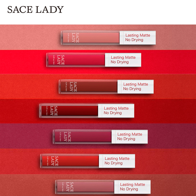 SACE LADY Long Lasting Lipstick Make Up Matte Liquid Lip Stick Non Drying Makeup Nude Red Pigment Waterproof 23 Colors Cosmetic 5