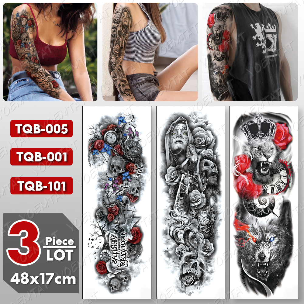 3 Pcs/lot Large Arm Sleeve Tattoo Lion Crown Wolf Waterproof Temporary Tatto Sticker Skull Body Art Full Fake Tatoo Women Men