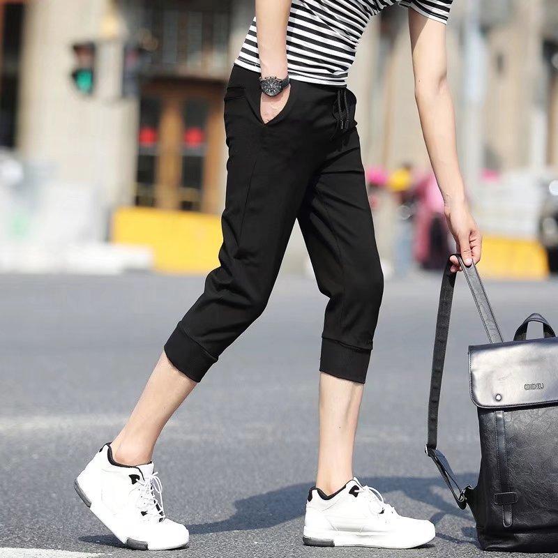 2018 Summer Sports Capri Pants Men's Korean-style Skinny Knit Pants Men Beam Leg Closing Capris Casual Shorts