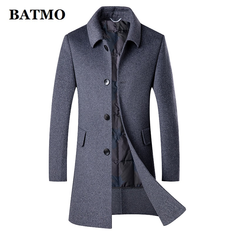 BATMO new arrival winter 90% white duck down liner thicked wool trench coat men,men's wool jackets,men's wool warm coat 2105