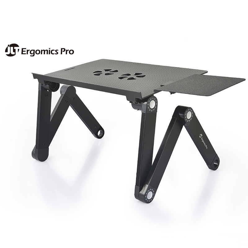 Adjustable Aluminum Laptop Desk Ergonomic Portable TV Bed Lap Desk Tray PC Table Stand Notebook Table With Mouse Pad Cooling Fan