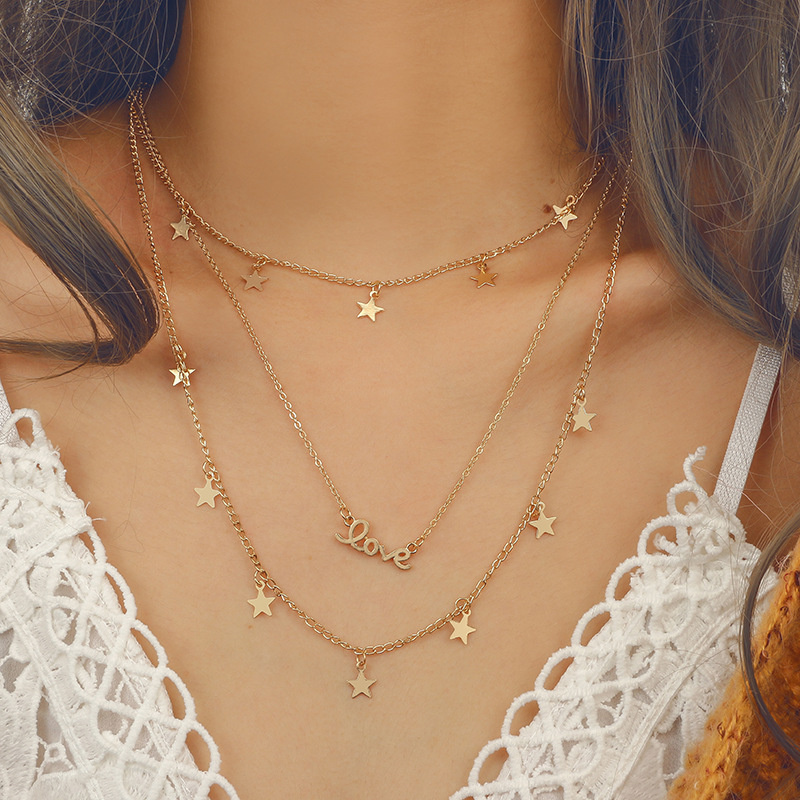 30 Styles Boho New Fashion Star Moon Multi-layer Alloy Necklace Female Charm Jewelry Tassel Necklace Set Mother Girlfriend Gift